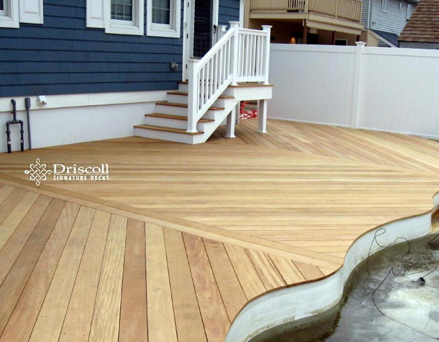 We Cut A Nice Curvy Contour For Our Decking Board Patterns Around The Pool,  And Also Note How The Platform Stairs Use The Same Garapa Decking Boards On  The ...